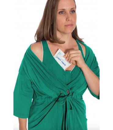 Bata con bolsillos para drenajes y sujetador mastectomia verde