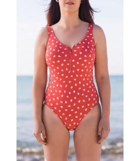 Bañador mastectomía Rojo Topos