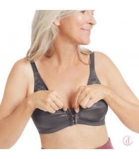 Sujetador NANCY mastectomía cierre delantero gris oscuro