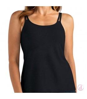 VALETTA Top Camiseta tirantes con sujetador mastectomía negro
