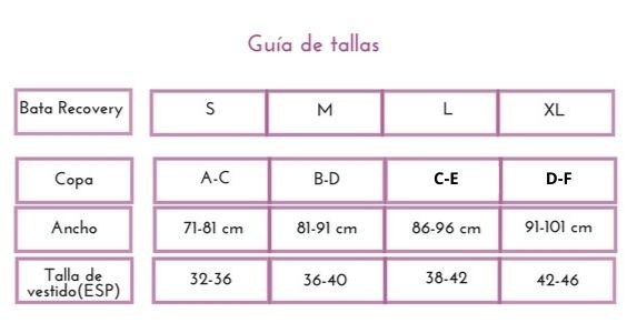 guía de tallas bata post mastectomía